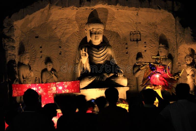 菩萨雕象在晚上佛光山马来西亚 免版税库存照片