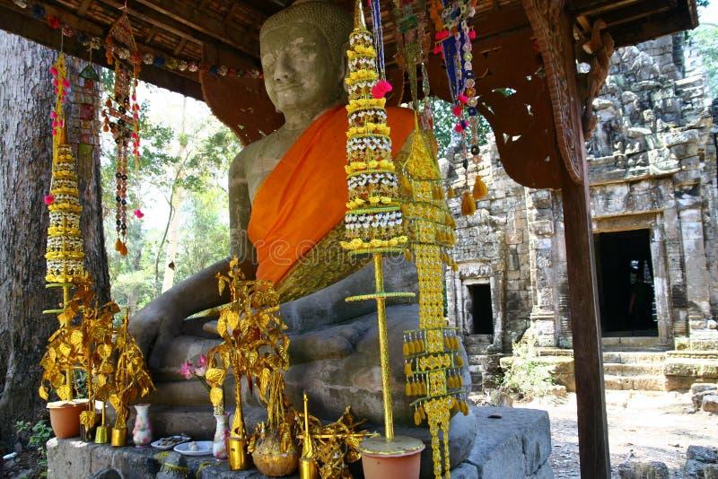 菩萨雕象在吴哥窟 图库摄影