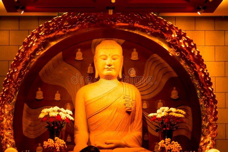 菩萨雕象特写镜头在钟Tai陈修道院在台湾 免版税库存图片