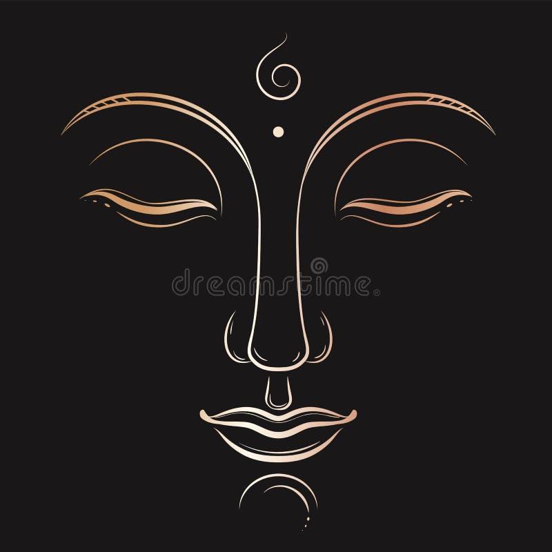 菩萨面对传染媒介艺术 佛教,瑜伽,神圣的精神,禅宗墨水图画 皇族释放例证