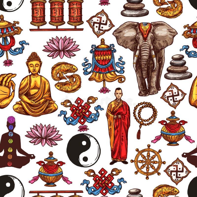 菩萨,瑜伽,莲花,yin杨无缝的样式 库存例证