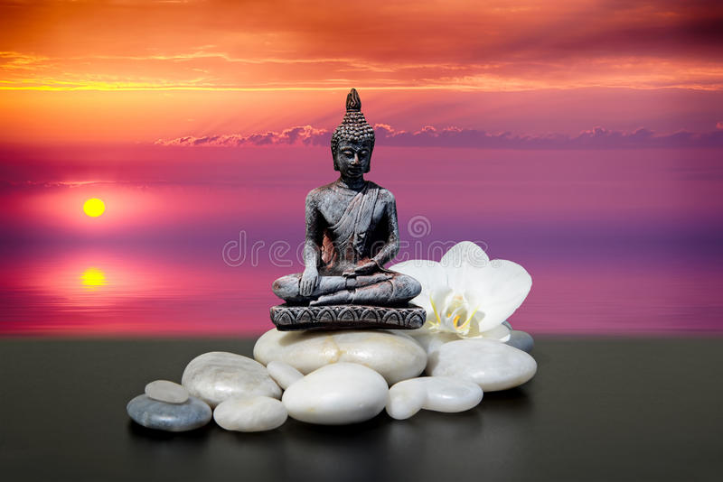 菩萨,禅宗石头,白色兰花开花 在海的背景日出 图库摄影
