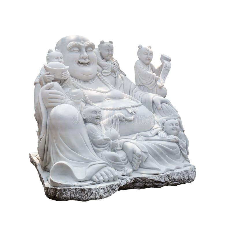 菩萨(Sangkat Ja)雕刻家做雕塑白色大理石 库存图片