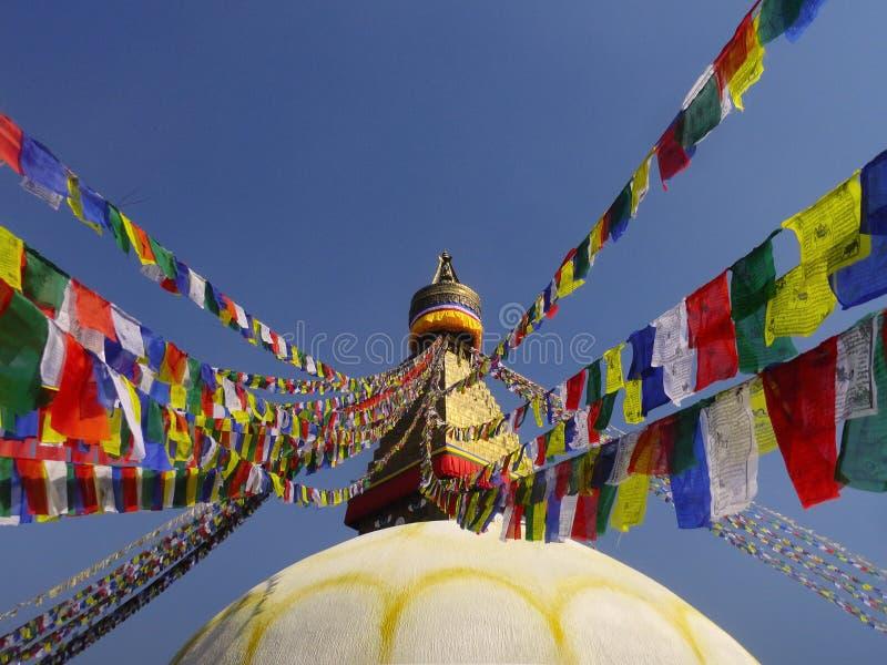 菩萨stupa祷告下垂尼泊尔Kathamandu 库存图片