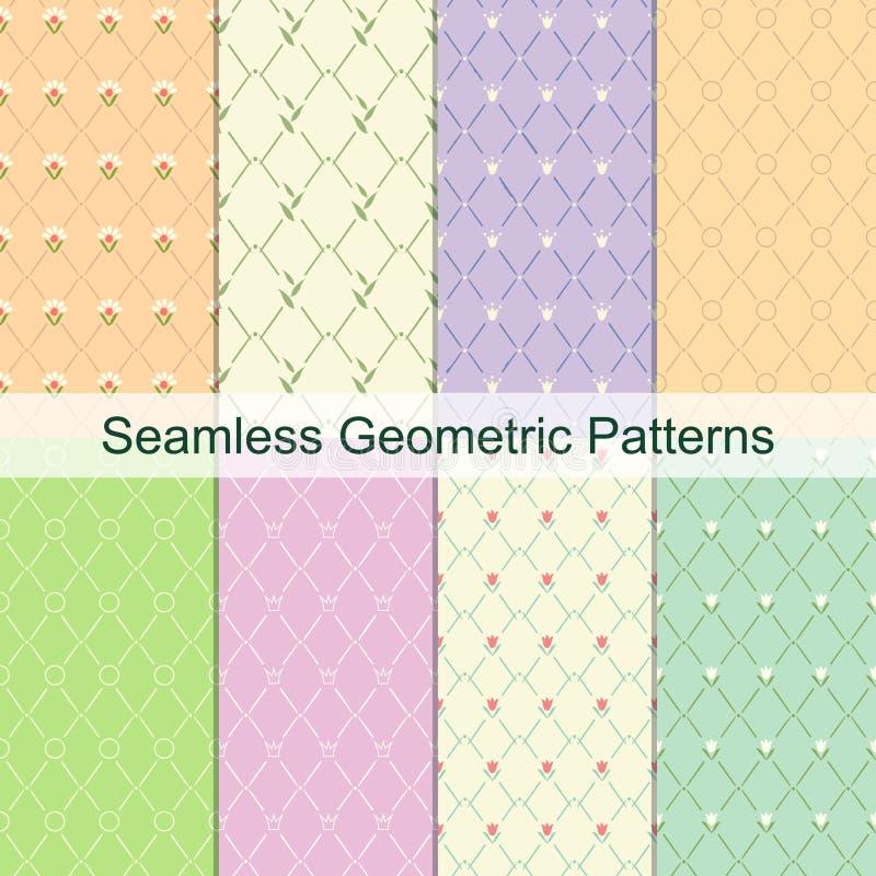 菱形几何淡色无缝的典雅的样式集合 逗人喜爱的明亮的抽象框架 库存例证