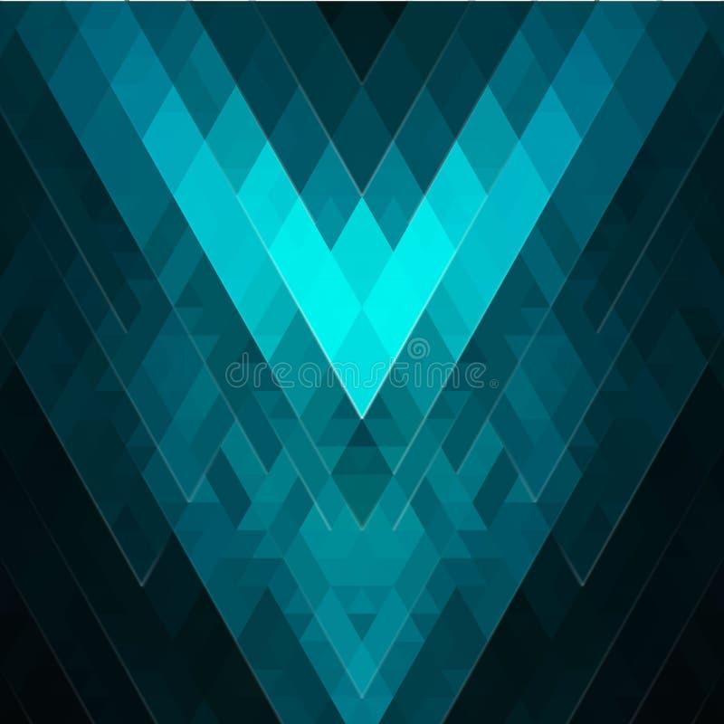 菱形和正方形摘要绿宝石绿松石几何背景  织地不很细明亮的多角形样式 焕发作用 向量例证