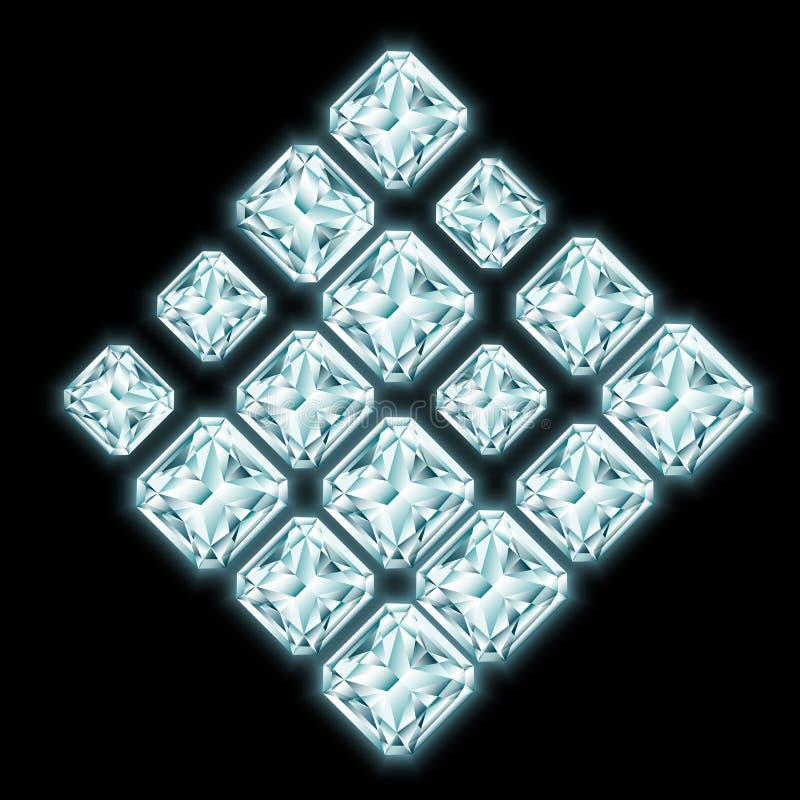 菱形构成由光亮的金刚石做成 库存例证