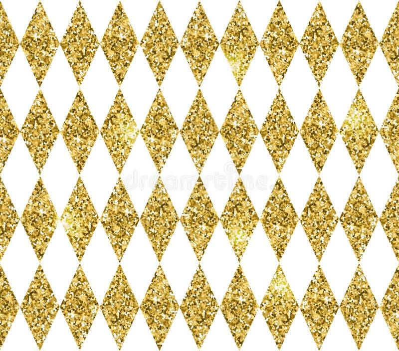 菱形的无缝的几何样式 金子闪烁纹理 皇族释放例证