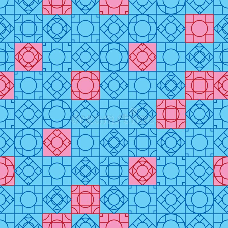 菱形窗式对称蓝红无缝图案 向量例证