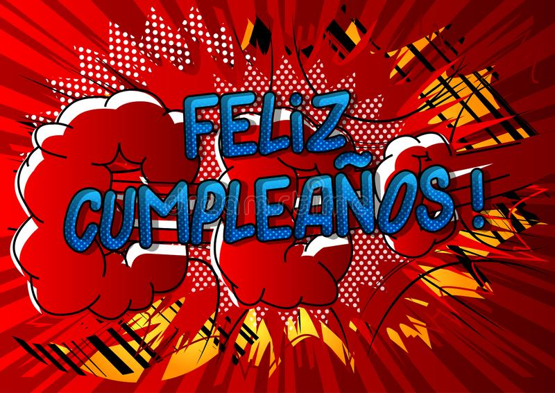 菲利兹Cumpleanos!生日快乐用西班牙语 向量例证