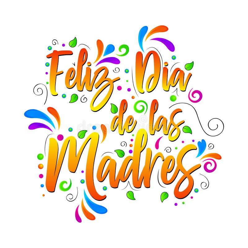 菲利兹Dia de las Madres 在被隔绝的例证上写字的传染媒介 库存例证