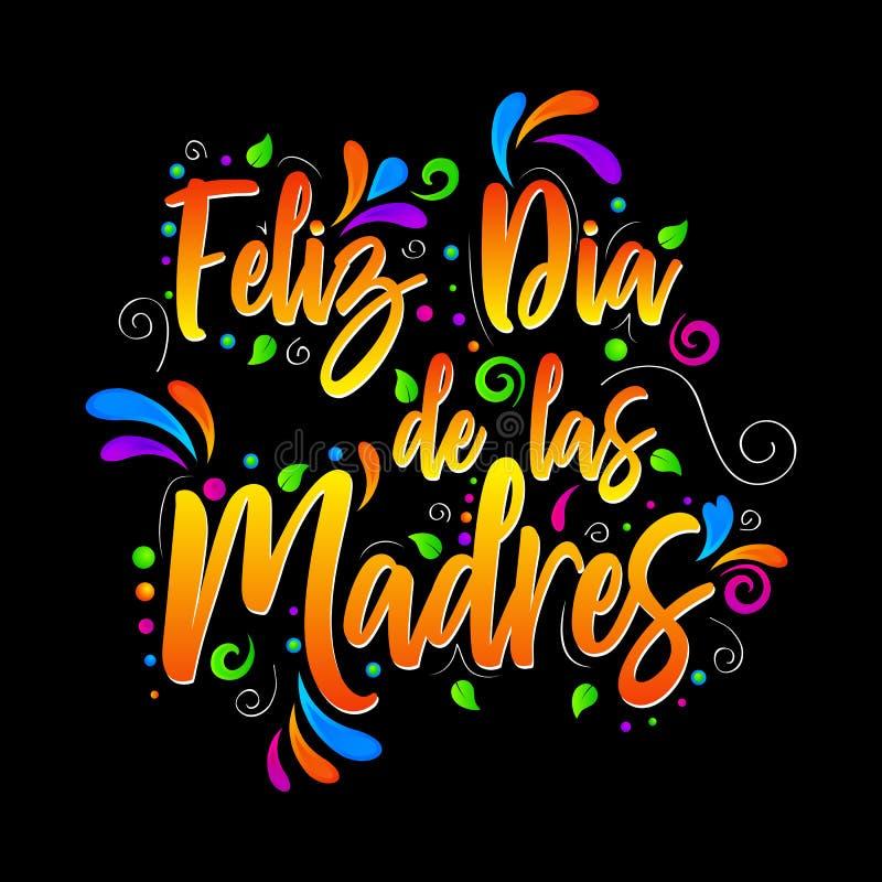 菲利兹Dia de las Madres 愉快的母亲节!在被隔绝的例证上写字的传染媒介 皇族释放例证