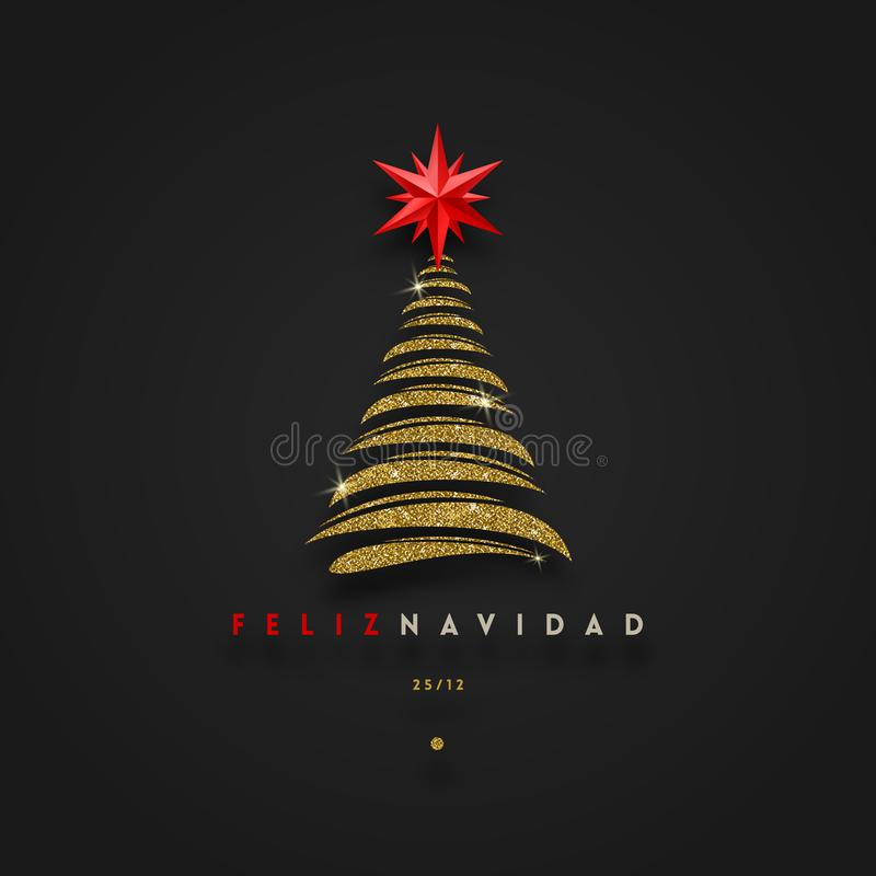 菲利兹navidad -圣诞节问候用西班牙语-与红色星的抽象闪烁金子圣诞树 皇族释放例证