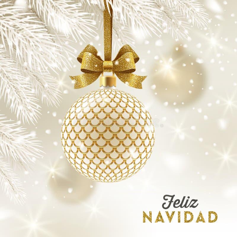 菲利兹navidad -圣诞节问候用西班牙语-与闪烁垂悬在圣诞树的金弓的被仿造的金黄中看不中用的物品 向量例证