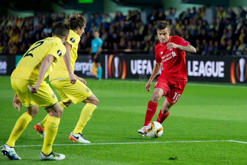 菲利普・库迪尼奥使用在比亚雷亚尔锎和利物浦足球俱乐部之间的欧罗巴同盟半决赛 免版税库存照片