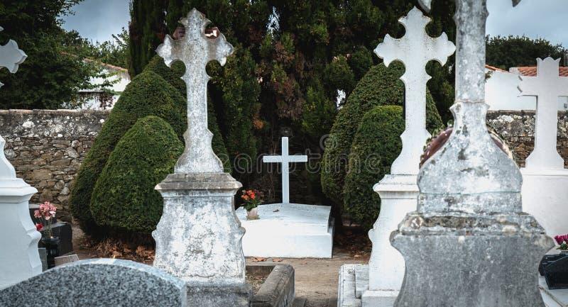 菲利普・贝当马雷夏尔de法国用在他是被埋没的港若茵维莱,法国的坟墓写的法语 免版税库存照片