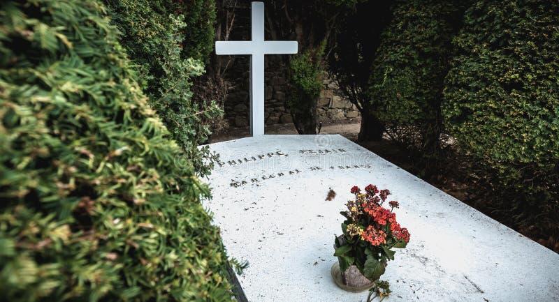 菲利普・贝当马雷夏尔de法国用在他是被埋没的港若茵维莱,法国的坟墓写的法语 库存照片