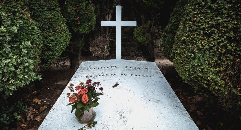 菲利普・贝当马雷夏尔de法国用在他是被埋没的港若茵维莱,法国的坟墓写的法语 图库摄影