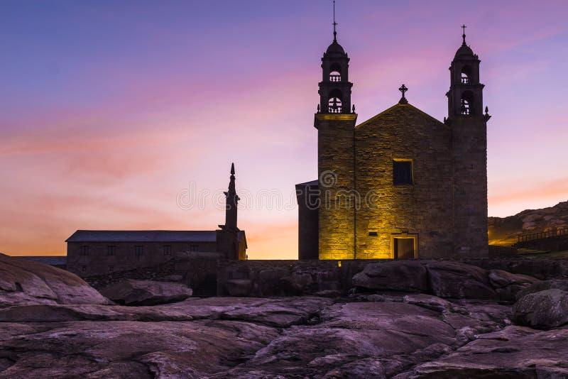 菲尔根de la巴尔卡角,穆希亚,加利西亚,西班牙教会  免版税库存照片