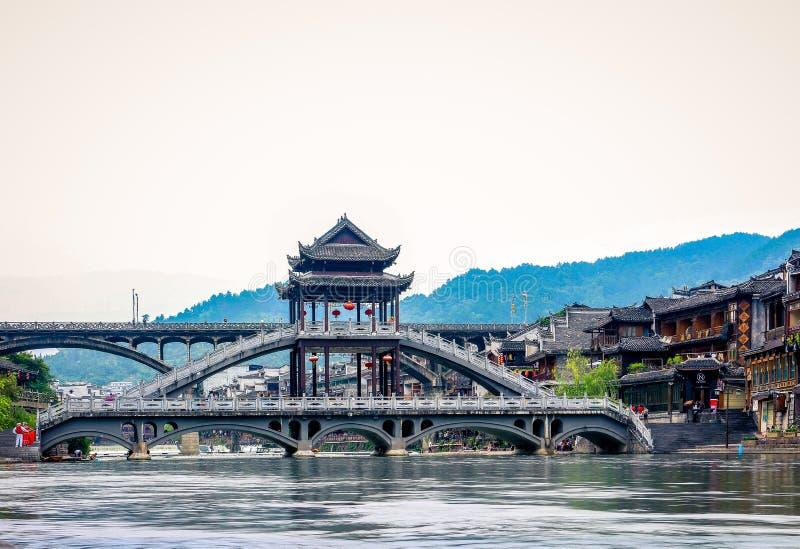 菲尼斯古老townFenghuang,湖南,中国风景  免版税库存照片