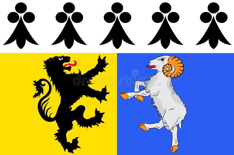 菲尼斯泰尔省旗子在布里坦尼,法国 库存例证