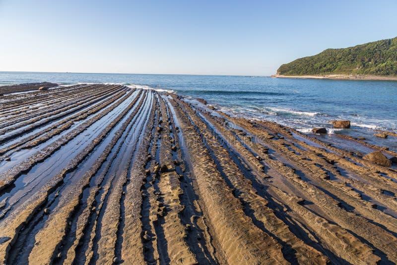 从菲尼斯的日南市海岸线,观点在宫崎,九州, 库存图片