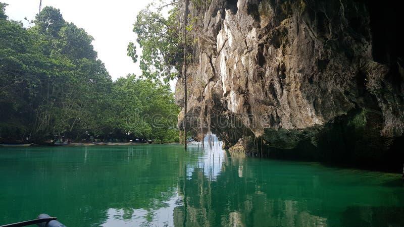 菲律宾世界的奇迹之一,有蝙蝠的洞穴 免版税库存照片