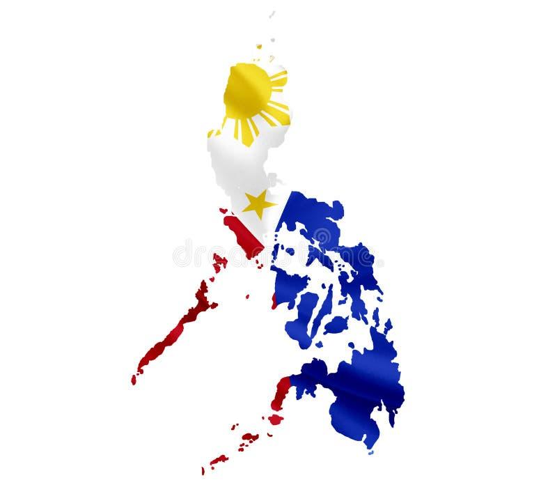 菲律宾地图有在白色隔绝的挥动的旗子的 免版税库存照片