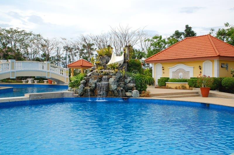菲律宾拉斯皮纳斯Almanza Dos凡尔赛宫游泳池 免版税库存照片