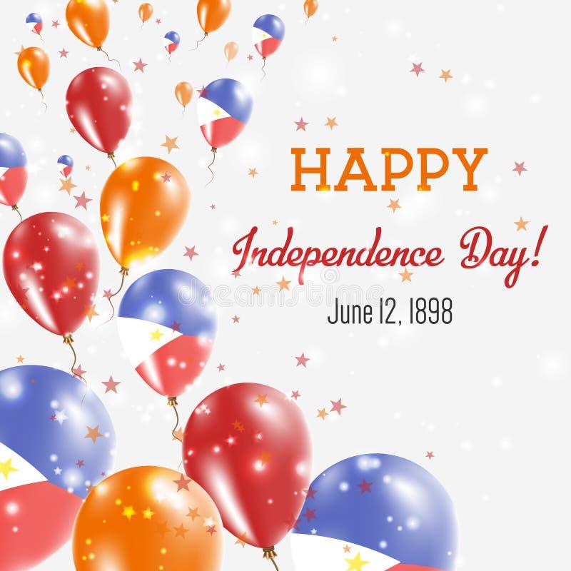 菲律宾美国独立日贺卡 库存例证