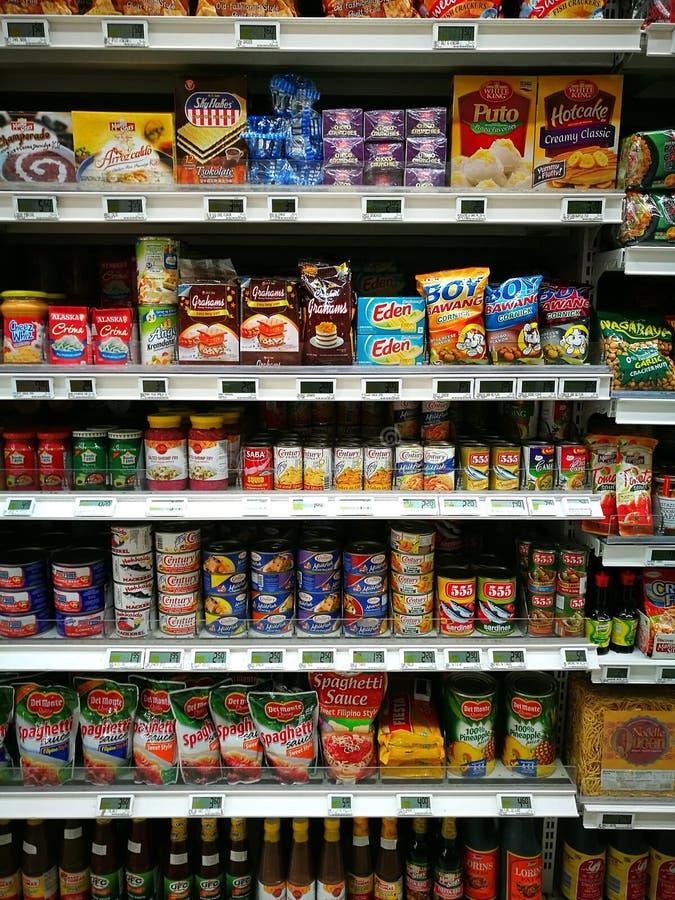 菲律宾食物部分在食家超级市场上 库存照片