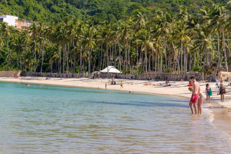 02/06/2019 - 菲律宾,海岛巴拉旺岛,El Nido:与高大的树木和放松的人民的热带海滩 与游人的海景 免版税库存图片