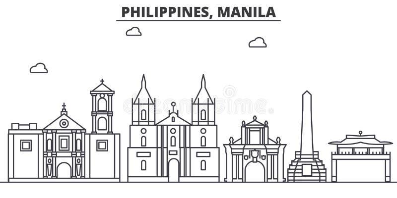 菲律宾,马尼拉建筑学线地平线例证 与著名地标的线性传染媒介都市风景,城市视域 皇族释放例证