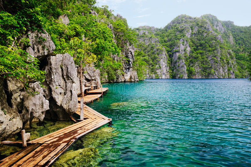 菲律宾 Coron海岛 Kayangan湖 库存照片