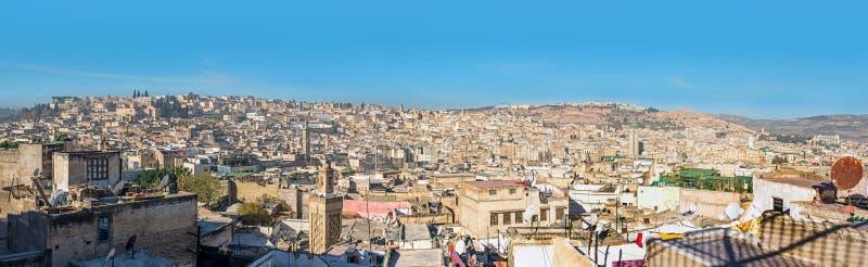菲斯麦地那的屋顶的全景 菲斯摩洛哥 图库摄影