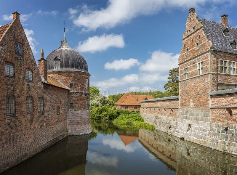 菲特列堡城堡护城河丹麦 免版税库存图片