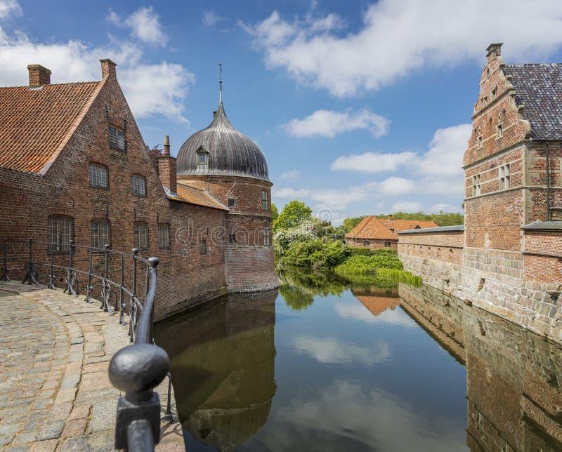 菲特列堡城堡护城河希勒勒丹麦 免版税库存照片