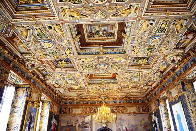 菲特列堡槽孔(城堡)在大厅里面的天花板 免版税库存照片