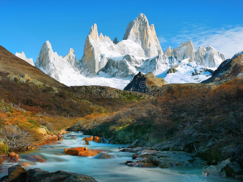 菲茨罗伊峰山,El Chalten,巴塔哥尼亚,阿根廷 库存照片