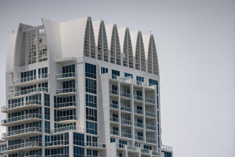 菲诺港塔迈阿密海滩的顶面部分 免版税图库摄影