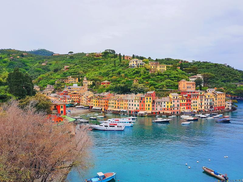 菲诺港,利古里亚,意大利宏伟的视图  库存照片