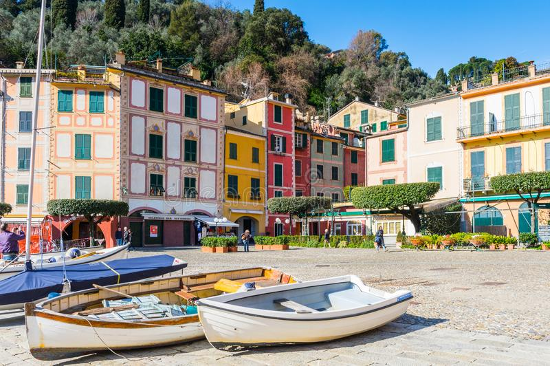 菲诺港,意大利建筑学  库存照片
