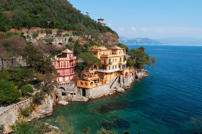 菲诺港,热那亚,利古里亚,意大利,意大利语里维埃拉,欧洲 库存图片