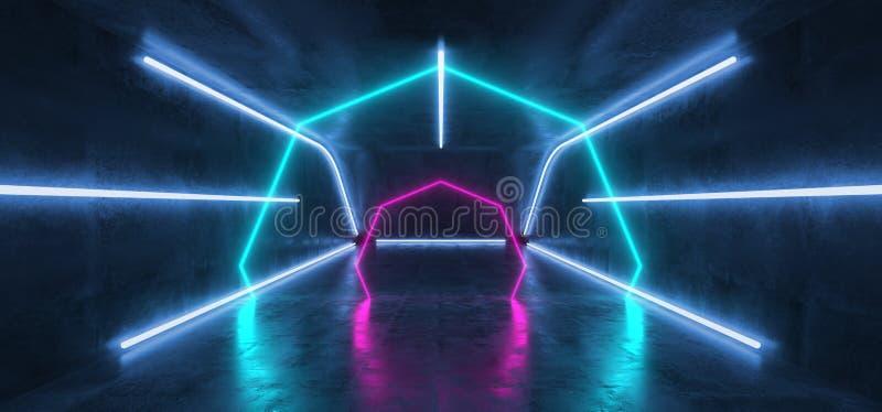 萤光充满活力的霓虹未来派科学幻想小说发光的紫色蓝色虚拟现实网络隧道具体难看的东西地板室霍尔演播室 皇族释放例证
