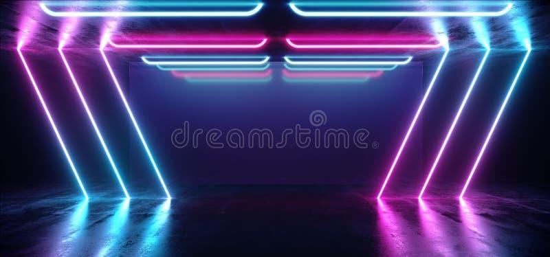 萤光充满活力的霓虹未来派科学幻想小说发光的紫色蓝色虚拟现实网络隧道具体难看的东西地板室霍尔演播室 库存例证