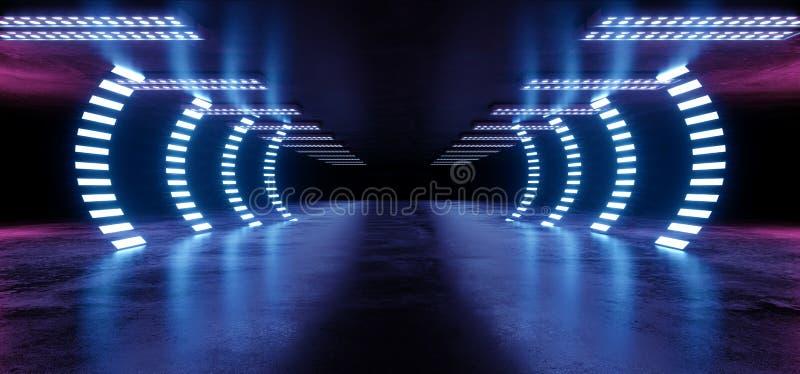 萤光曲拱门道路霓虹发光的科学幻想小说紫色蓝色未来派具体空的难看的东西反射性室充满活力的光谱 皇族释放例证