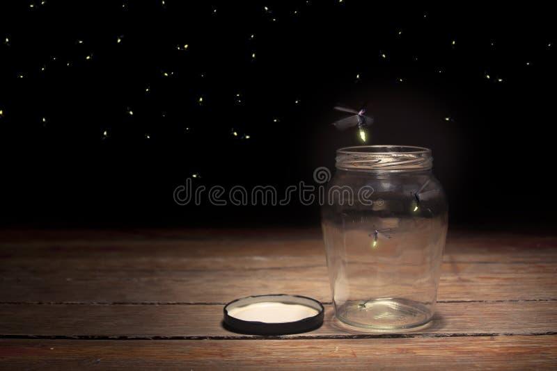 萤火虫瓶子 图库摄影