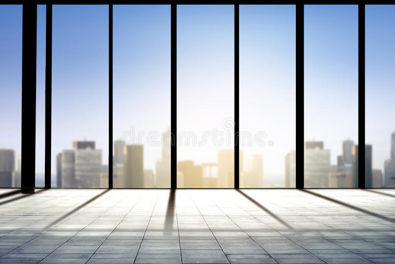 营业所室或机场终端在城市 向量例证