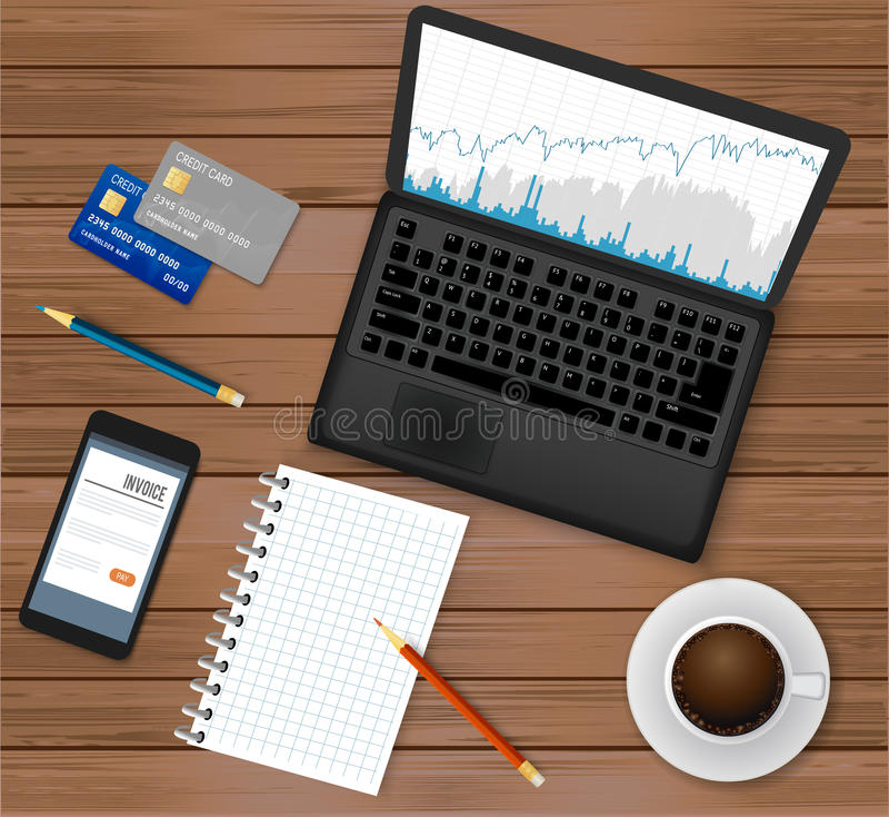 营业所工作场所 顶视图 有财政图表的膝上型计算机在屏幕,咖啡杯,智能手机,信用卡,笔记薄上 皇族释放例证