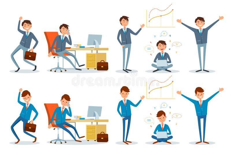 营业所工作者谈话在电话商人 向量例证